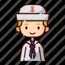 avatar, blonde, boy, diversity, people, profession, sailor
