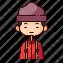 avatar, boy, chinese, diversity, lumberjack, people, profession