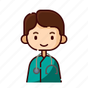 avatar, boy, diversity, doctor, man, people, profession icon