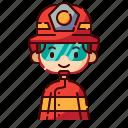 avatar, boy, diversity, firefighter, man, people, profession icon