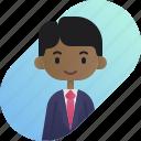 african, avatar, boy, businessman, diversity, people, profession icon