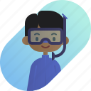 african, avatar, boy, diver, diversity, people, profession icon