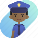 african, avatar, boy, diversity, people, police, profession icon