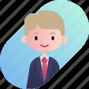 avatar, blonde, boy, businessman, diversity, people, profession icon