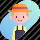 avatar, blonde, boy, diversity, farmer, people, profession