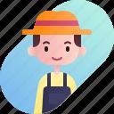 avatar, boy, diversity, farmer, man, people, profession icon
