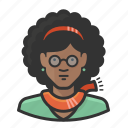 african, african american, afro, glasses, pretty, scarf icon