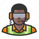 african, flight crew, goggles, headset, reflective icon