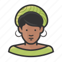 african, earrings, hat, shorthair, woman icon