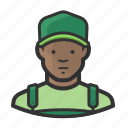 african, african american, baseball cap, overalls icon