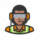 african american, flight crew, goggles, headset, reflective, woman icon