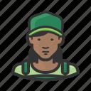 african american, baseball cap, baseballcap, overalls, woman icon