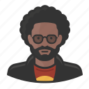 glasses, avatar, african american, male, afro, man