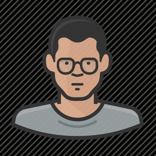 asian, avatar, glasses, male, man icon