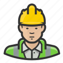 asian, construction, hardhat, man, reflective, road crew, vest icon