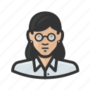 asian, female, girl, glasses, woman icon