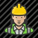 asian, construction, female, hardhat, reflective, road crew, woman icon