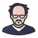 avatar, bald, disheveled, glasses, male, man, mustache icon