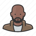 african american, bald, beard, black man icon