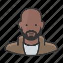 black man, african american, bald, beard