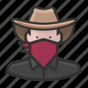 bandana, caucasian, cowboy, hat icon