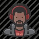 african, african american, afro, beard, disc jockey, dj, headphones icon