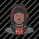 african american, disc jockey, dj, headphones, woman icon