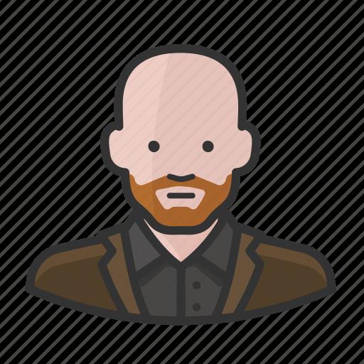 bald, beard, ginger, male, man icon