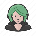 avatar, green hair, rave, woman icon