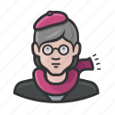 beret, female, glasses, older, scarf, woman icon