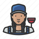asian, female, girl, overalls, plumber, woman icon