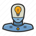 android, lightbulb, machine, robot icon