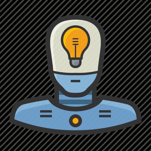 android, lightbulb, machine, robot icon