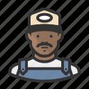 african american, ballcap, male, man, mustache, overalls, trucker
