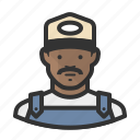 african american, ballcap, male, man, mustache, overalls, trucker icon