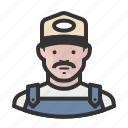 ballcap, male, man, mustache, overalls, trucker icon