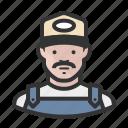 ballcap, male, man, mustache, overalls, trucker