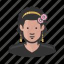 brunette, earraings, female, flowers, girl, headband, woman icon