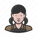 apron, caucasian, female, girl, pigtails, woman icon