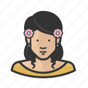 asian, female, flowers, girl, sweater, woman, young icon
