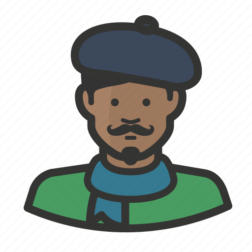 artist, beret, french, man, moustache, scarf icon