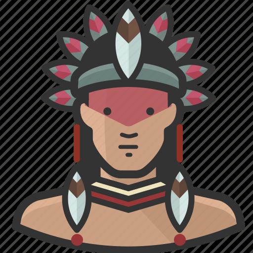 avatar, brazilian, indian, man, native icon