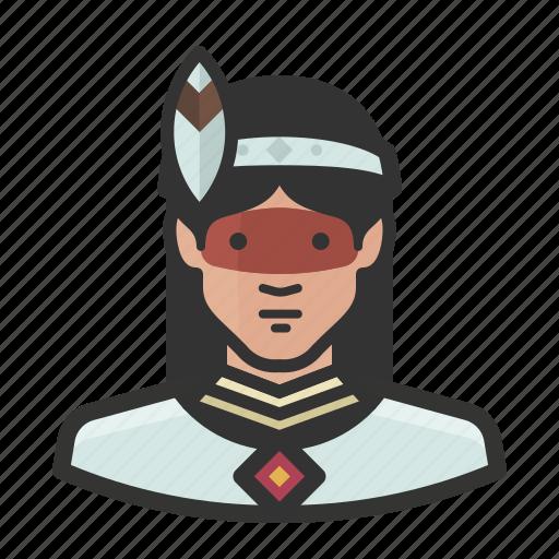 avatar, brazilian, female, girl, indian, native, woman icon