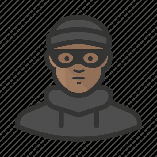 african, avatar, burglar, criminal, man, thief icon