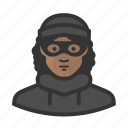 african, avatar, burglar, criminal, female, girl, thief, woman icon