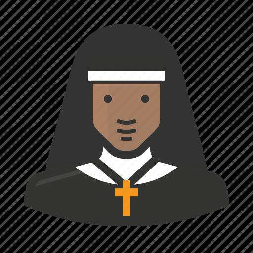 african, avatar, catholic, convent, female, girl, nun icon