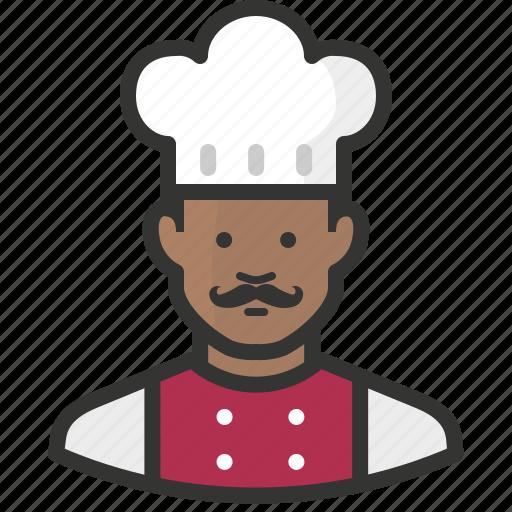 african, avatar, chef, cook, food, man, restaurant icon