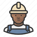 construction, avatar, african, man, hardhat