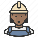 african, avatar, construction, female, girl, hardhat, woman icon