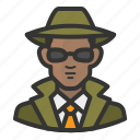 african, avatar, detective, glasses, man, private eye icon